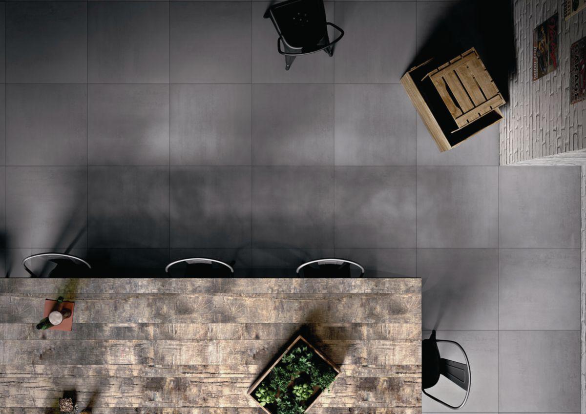 Carrelage Sol Interieur Gres Cerame Porcelaine Loft Antracite Rectifie 60x60 Cm Ep 9 5 Mm Desvres