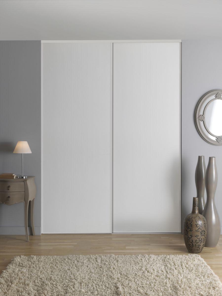 Porte de placard coulissante 2 vantaux recoupables Diva décor chêne blanc -  250x180 cm