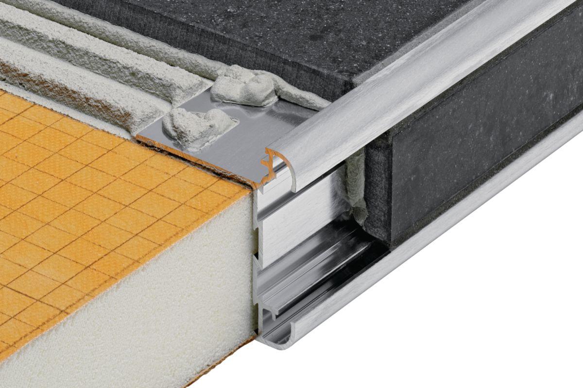 Plan De Travail Chrome profilé plan de travail schlüter rondec step ct acgb - alu chromé anodisé  brossé - l. 2,50 m - ép. 10 mm