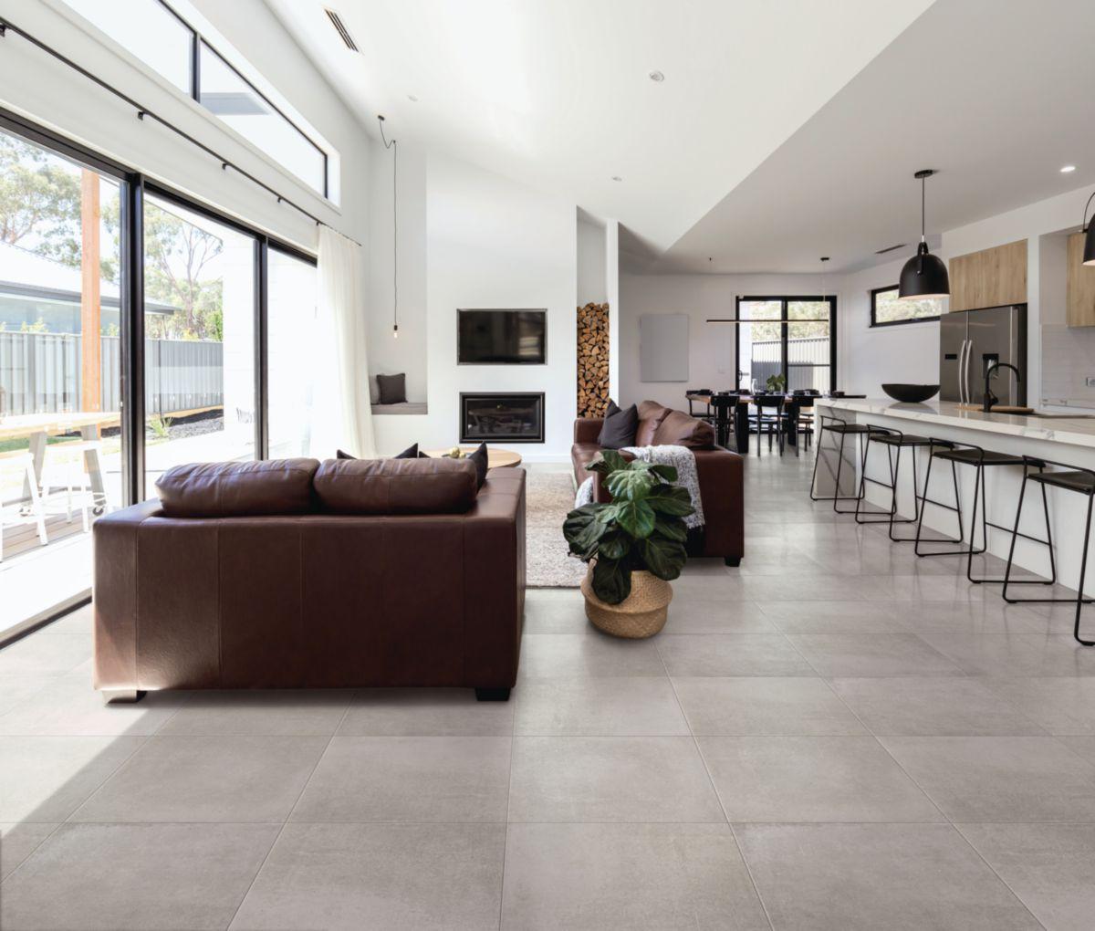 Carrelage Effet Beton Cuisine carrelage sol intérieur grès cérame beton evolution - gris moyen mat -  45x45 cm - ép. 9 mm