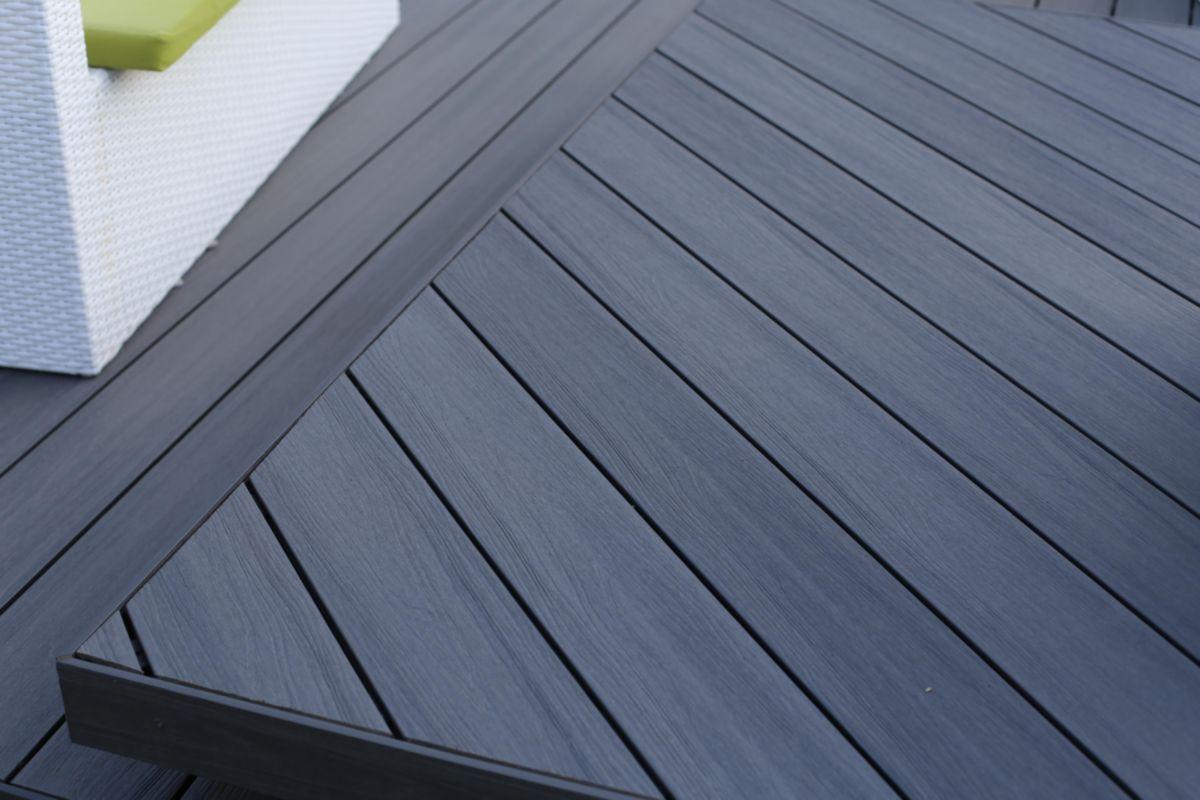 Lames De Terrasse Bois lame de terrasse bois composite co-extrudé patio - gris - l. 3,60 m -  22,5x145 mm