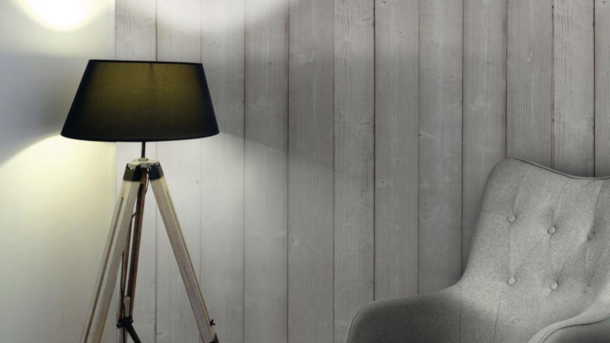 Deco Chambre Lambris Bois lambris sapin blanc du nord brossé déco - gris - 13x135x2370 mm