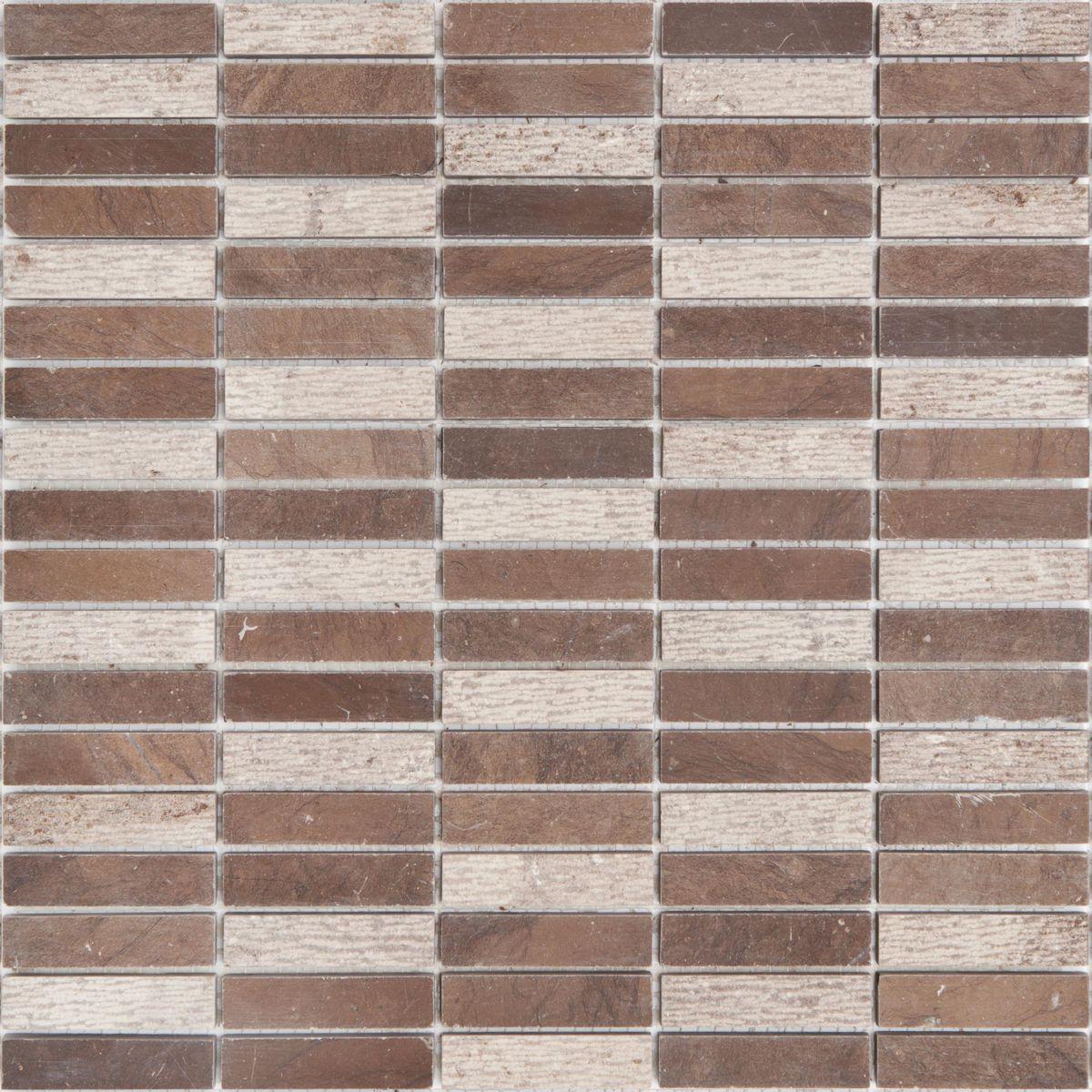 Mur En Pierre Naturelle mosaïque sol/mur intérieur pierre naturelle djenné cm-15007 - brown - sur  plaque 30,5x30,8 cm