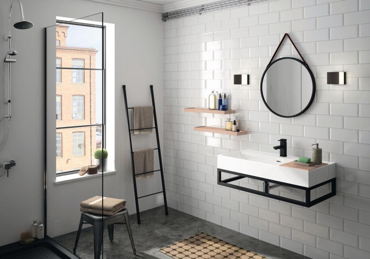 Miroir de salle de bain acier laqué Steel - noir mat - Ø 55 cm - ép. 30 mm